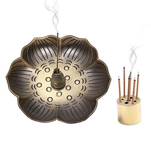 EQLEF Lotus - Soporte Incienso Incienso Bronce, 9