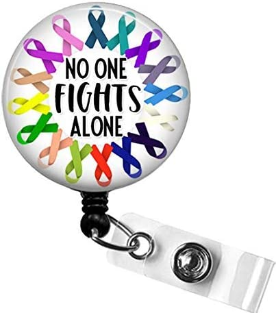 All CANCER AWARENESS Badge Reel No One Fights Alone Cancer Awareness Ribbon Badge Reel Oncology product image