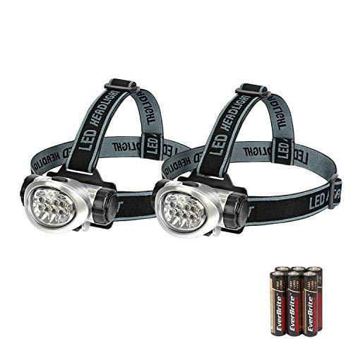 EverBrite 2-Pack Headlamp Flashlight for Running, Camping, Reading, Fishing, Hunting, Walking, Jogging Head Light Durable, Lightweight Batteries Included