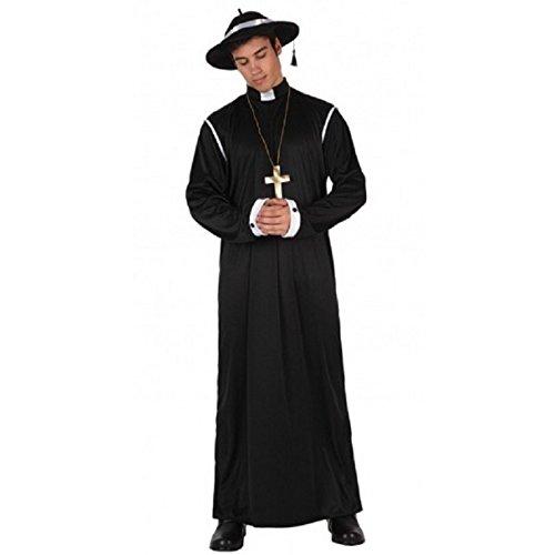 Atosa-12389 Atosa-12389-Disfraz Cura-Adulto XL-Hombre- negro, Color, 52-54 (12389)