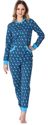 Merry Style Damen Schlafanzug Strampelanzug Schlafoverall MS10-175 (Blau Gans, L)