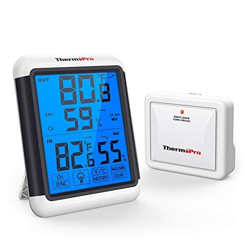 ThermoPro TP65 Termometro Igrometro Wireless per Interno Esterno Stazione Metereologica Digitale Misura umidità e Temperatura con Grande Schermo a Sfioramento e Retroilluminato
