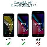 JETech Silikon Hülle Kompatibel iPhone SE 2020, iPhone 8 und iPhone 7, seidigem Ganzkörper Handyhülle, mit weichem Mikrofaser-Innenfutter stoßfestes Abdeckung, Schwarz