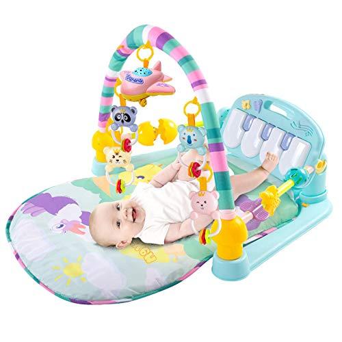 YLLHK Manta de Juego para Bebé con Barandilla, Niños Alfombras de Juego y Gimnasios con Control Remoto, con Centro de Actividades, Música y Sonidos, para Bebé Recién Nacido 1-15 Meses