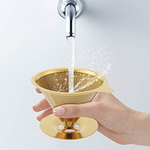 Cuifati Filtro de Goteo de café Material de Acero Inoxidable con Base Resistente recubierta de Oro de Titanio con Anillo de Silicona Adecuado para Personas Que aman el café
