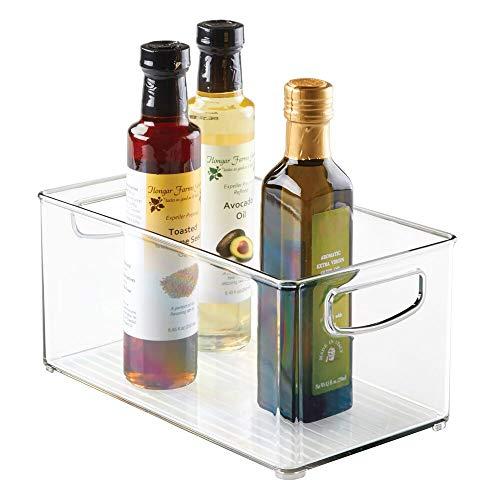 mDesign Caja organizadora con asas – Práctico organizador de frigorífico para almacenar alimentos – Contenedor de plástico sin BPA para mueble de cocina o nevera – transparente