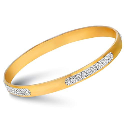 wangzz 3 Row Crystal Pave Edelstahl Armbänder Armreifen Goldschmuck Für Frauen
