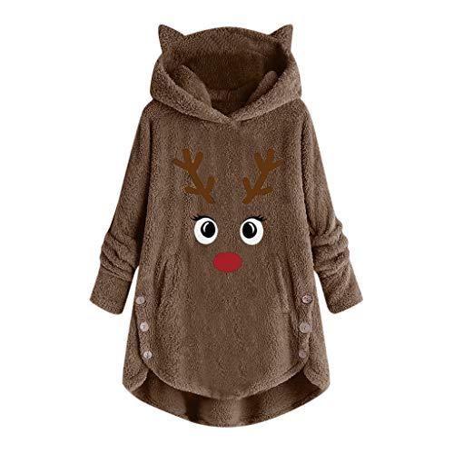 ReooLy Frauen-Knopf Mantelbuchstabedruckens Stickerei Pullover lose Pullover Bluse Größe Plüsch Shirt(Kaffee/XX-Large)