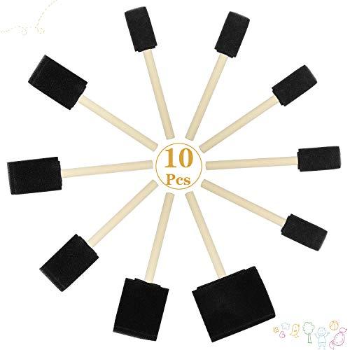 Zaleonline 10 STK Schaumstoff Stupfpinsel Malen Schwammpinsel Schwammtupfer Schaumpinsel Kinder Schaumstoffpinsel mit Hartholz Griffe für Kunst Handwerk Aquarellmalerei Malerei Kunstzubehör