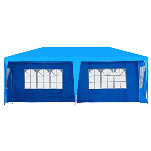 Outsunny Large 10' x 20' Gazebo Canopy Party Tent with 4 Removable Window Side Walls,Wedding, Picnic Outdoor Events- Blue