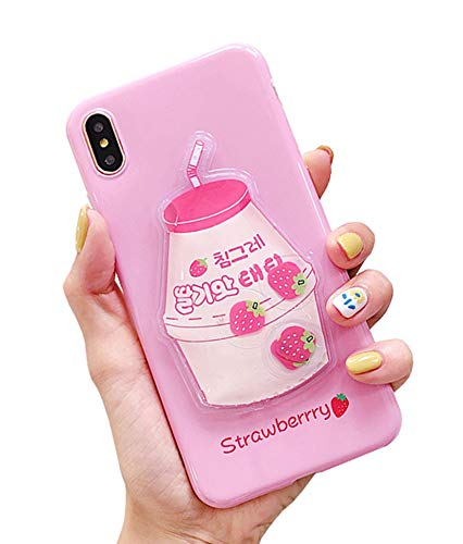 UnnFiko Squishy Liquid Fruit Case Compatible with iPhone XR, Creative Milk-Shaped Funny Play Case Soft Protective Cover (Strawberry, iPhone XR)