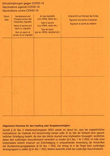 COVID-19 Impfbescheinigung Bescheinigung Internationaler Impfpflicht Impfung (10 Stück)