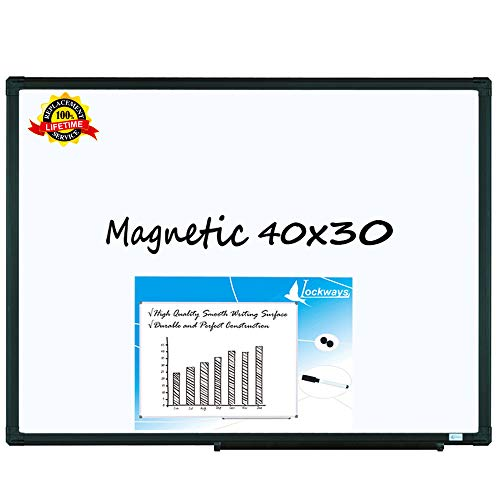 Magnetic Dry Erase White Board| 40 x 30 Wall-Mounted Aluminum Message Presentation WhiteBoard with Pen Tray for Kids, Students & Teachers