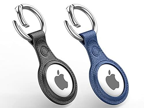 Funda de piel para Apple AirTag con llavero, Buscador de llaves AirTag Buscador de teléfono con funda de transporte, 2 piezas (negro, azul)