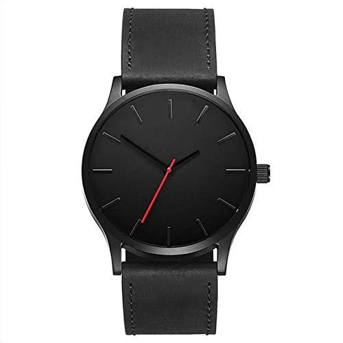 Uhren Männer einfacher Matte Ledergürtel-Quarz-Uhr Asun (Color : Black)