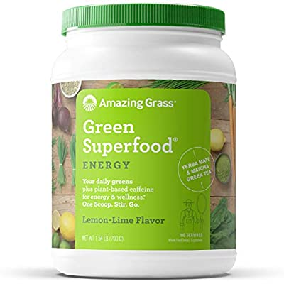 Amazing Grass Green Superfood Energy: Super Greens Powder & Plant Based Caffeine with Green Tea and Flax Seed, Lemon Lime, 100 Servings