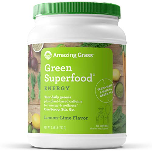 Amazing Grass Green Superfood Energy: Super Greens Powder & Plant Based Caffeine with Green Tea and Flax Seed, Nootropics Support, Lemon Lime, 100 Servings