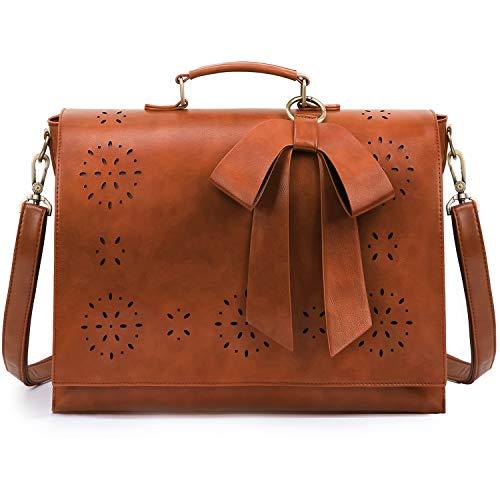 ECOSUSI Women's Briefcase Vegan Leather 15.6 inch Laptop Bag for School Shoulder Computer Satchel Bag with Detachable Bow, Light Brown
