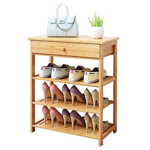 Zapatero Estante de 4 niveles de zapatero de bambú con un cajón Estante de ropa Estantes de almacenamiento de zapatos Estantes planos independientes Estilo clásico - Organizador de estante multifunció