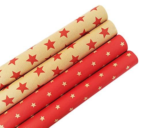 Premium Retro carta da regalo in carta riciclata ecologica – Confezione regalo di alta qualità con stelle per compleanno, Pasqua o Natale – 6 rotoli