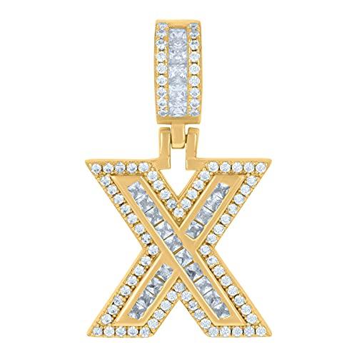 Colgante de plata de ley 925 unisex redondo y baguette con circonita cúbica nombre personalizado monograma inicial del alfabeto X colgante collar con dijes de joyería para mujeres