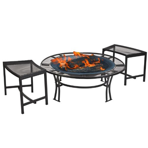 Buy Cheap CobraCo Steel Mesh Rim Fire Pit and Two Bench Set with Screen and Cover FB6400-750