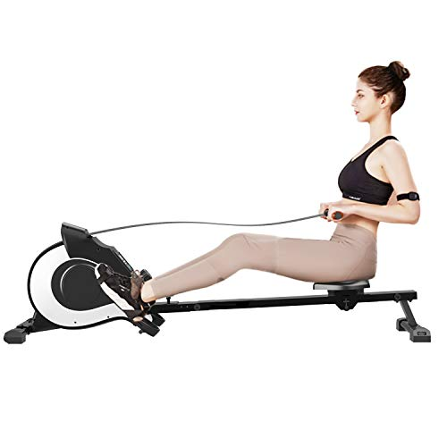 Máquina de Remo para Entrenamiento Cardiovascular de Gimnasio en Casa, Magnético Plegable Resistencia con 8 Niveles Ajustables