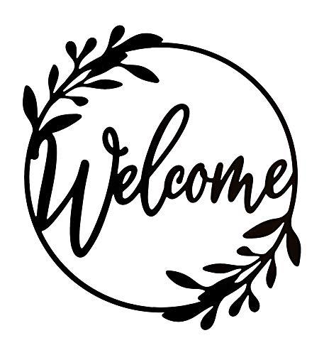 """Welcome Metal Sign Door Wall Decoration Large Modern Design Plaque Black Matte Indoor Outdoor 19"""""""