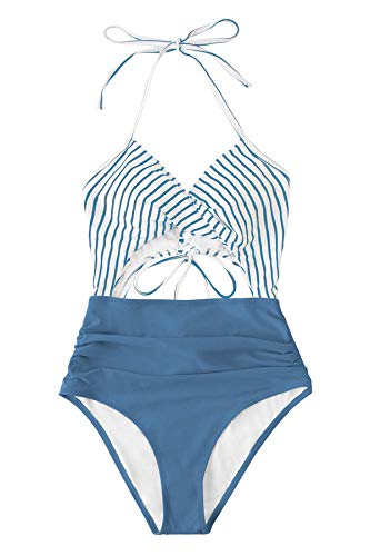 CUPSHE Women's One Piece Swimsuit Floral Print Halter Cutout Bathing Suit, M