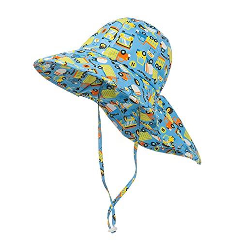 L&ieserram Sombrero de pescador estampado flor o cartón sombrero de sol anti-UV gorro de verano protección algodón niño recién nacido gorro grande visera de playa Azul 50