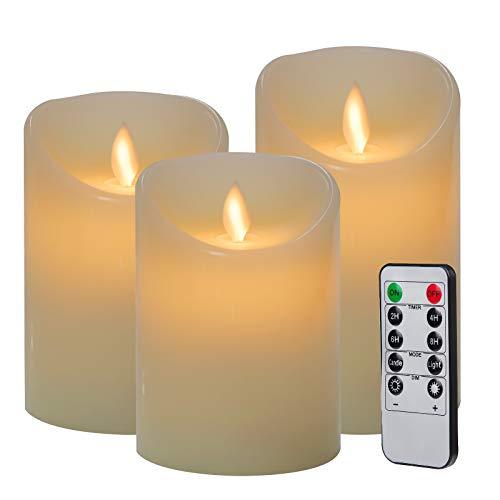 3pcs Velas LED con Mando a Distancia de 10 Botones(Temporizador 2/4/6/8 H, 2 Modos, Regulable) 7,5x10/12,5/15cm, para Navidad,Restaurante,Bar,Semana Santa, Blanco Marfil