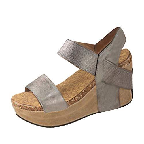 Minetom Sandali Donna Moda Sandali Espadrillas con Cinturino alla Caviglia Zeppe Donna Corda Intrecciato Piattaforma Eleganti Estivi Sandali A Grigio EU 41