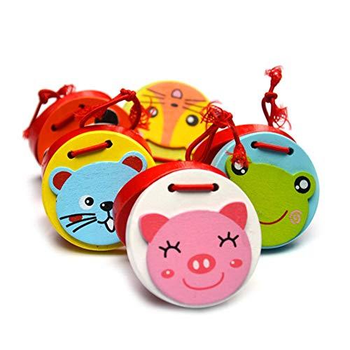Li-ly 2pcs castagnettes aux Motifs d'animaux Mignons bébé castagnettes à Doigts en Bois pour l'éducation préscolaire - Couleurs aléatoires durables et Pratiques