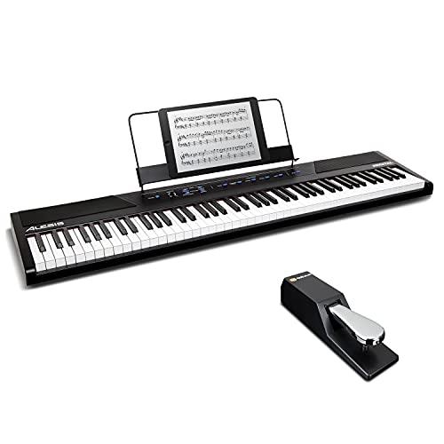 Alesis Recital + M-Audio SP-2 - Pianoforte Digitale con Casse, 5 Suoni, 88 Tasti Semi Pesati, 3 mesi di Lezioni Gratis + Pedale di Sustain Universale