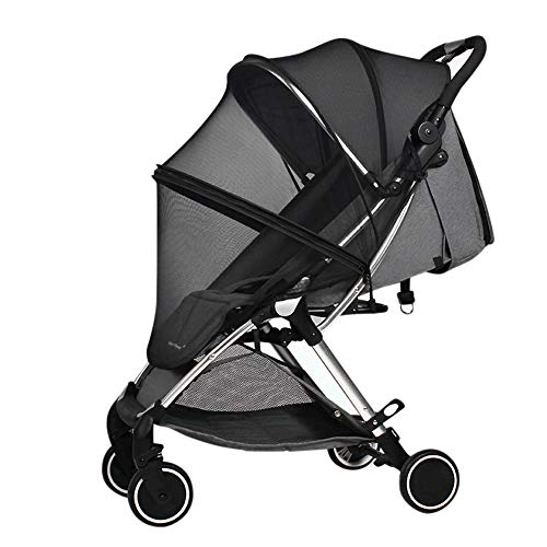 Universal Mosquito Net For Pram Pushchair Stroller Buggy Cot Bassinet Black Insect Net Fly Bug Net Protection Cover Full-Wrapped Installation with Elastic Band Zipper Opening And Closing Shed Support