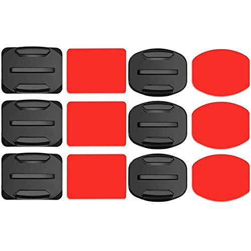Voarge 6 unidades de soporte adhesivo plano curvado para casco, soporte para casco de fijación de adhesivo 3M compatible con GoPro Hero 8, 7, 6, 5, 4, Session