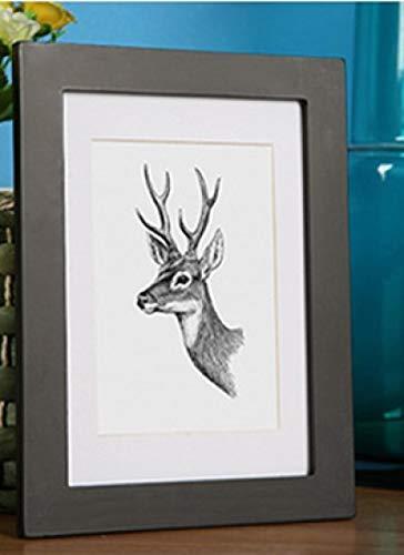 Marco de fotos útil de herramientas de madera maciza A4, marco de fotos blanco y negro con esteras, montaje incluido en negro