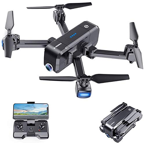 SANROCK X103W 2.7K Camera Drone for Adults Kids Beginners, Foldable Drones RC Quadcopter Live Video 120°Wide-Angle with Gravity Sensor, Altitude Hold, Headless Mode, One Key Take Off/Landing