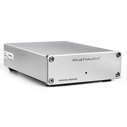 FX AUDIO Box 02 Phono Preamp Low Noise Gain Gear Phonograph Preamplifier for Turntable MM MC DC 12V Power Supply RCA Input Output HiFi Pre-Amp for Phono