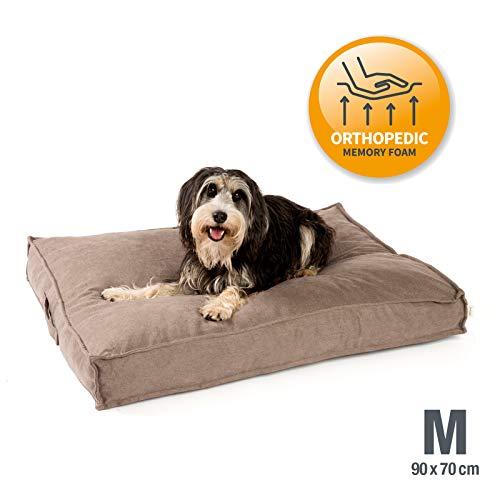 JAMAXX Premium Hundekissen Orthopädisch Memory Visco Schaum Waschbar Abnehmbarer Bezug Wasserabweisend - Weicher Samtiger Sofa Stoff - Hundebett PDB1001 (M) 90x70 Sand