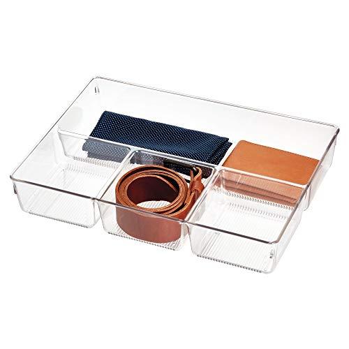 iDesign Caja organizadora para armario o tocador, bandeja organizadora pequeña de plástico, organizador de cajones con 4 compartimentos para accesorios, transparente