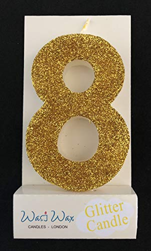 Wasiwax Ultra Sparkle Gold Glitter Birthday Number 8 Candle - Cake Topper - 3.25'' (8.25cm) - Nr 8