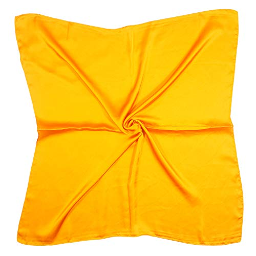 QYX Bufanda De Seda Pura Mujer 100% Seda De Mora Pañuelo Cuadrado Fulares Bandanas Ligero 70 x 70 cm Para Damas Cabello Cabeza Cuello Decoración (Amarillo)
