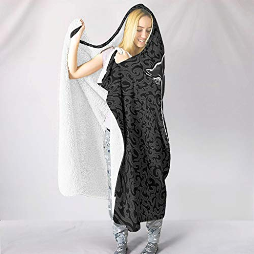 LAOAYI Home Hooded Blanket Leopard Hypoallergen Schlafdecke Wohndecke Winter TV Mikrofaserdecke Für Kinder White 130x150cm