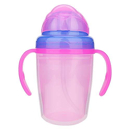 Copa de sorbete de paja, 230Ml Taza portátil para bebés con manijas de paja Accesorios para bebederos de entrenamiento de alimentación de agua(Rosado)