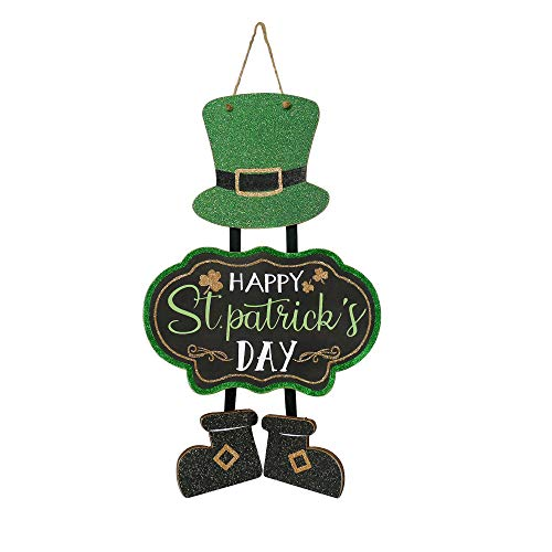 NIKKY HOME Glittery Happy St Patrick#039s Day Decoration Leprechaun Top Hat Triple Sign Irish Hanging Welcome Green Shamrock Clover Wood Decor for St Patricks Day Party 12 x 20 Inches