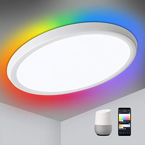 Oeegoo Lámpara LED de techo regulable con WiFi, luz de fondo RGB, 30W Smart LED plafón compatible con Google Home, aplicación y control por voz, ultrafina 3.2 cm