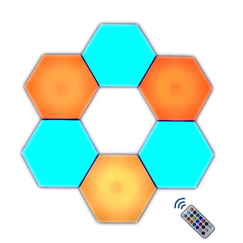 Hexagon Lights | Premium Light Panels | RGB Cool Lights | Touch-Sensitive and Remote Controlled Gaming Lights Suitable for Office, Game Room, Bedroom and Living Room | DIY led Wall Lights (6 pcs)