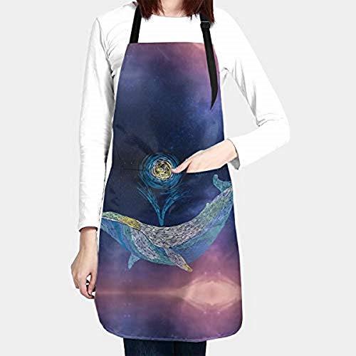 Dessin animé baleine bleue tabliers de cuisine pour femmes hommes grande taille avec 2 poches sangle de cou réglable étanche pour la cuisine jardinage peinture cosmétologie cuisine à la famille