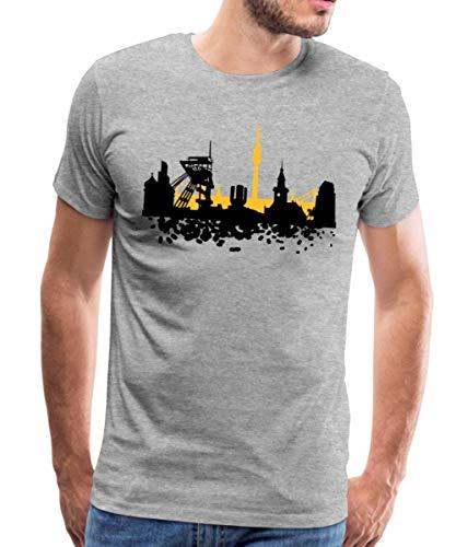 Skyline Dortmund Männer Premium T-Shirt, 4XL, Grau meliert
